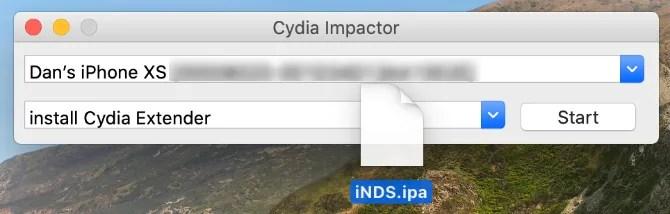 Cydia Impactor с IPA-файлом эмулятора iNDS