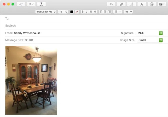 Mail App Изменить размер изображения Mac