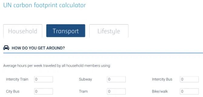 Официальный калькулятор углеродного следа ООН варьирует значения в зависимости от вашей страны
