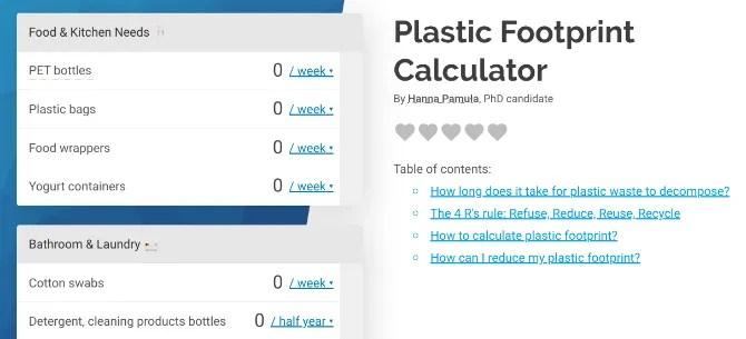 Рассчитайте свое годовое использование и расход пластмассы с помощью калькулятора пластиковых отпечатков Omni Calculator.