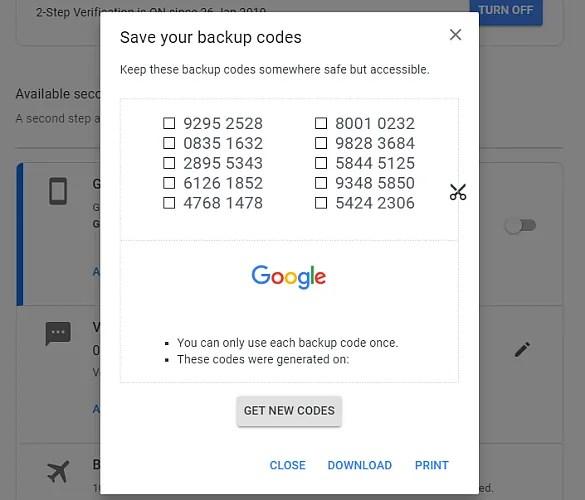 резервные коды Google генерируют
