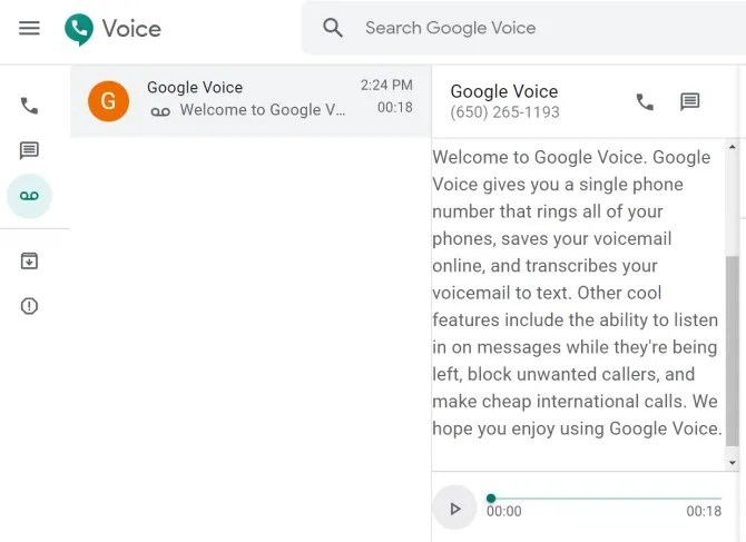Транскрипция голосовой почты Google Voice