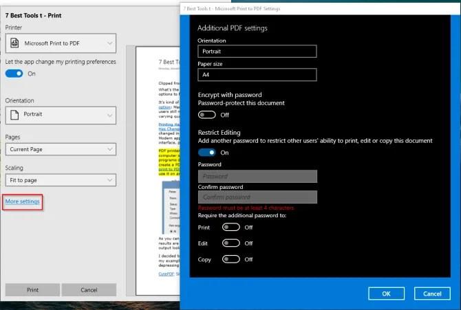 microsoft print to PDF options