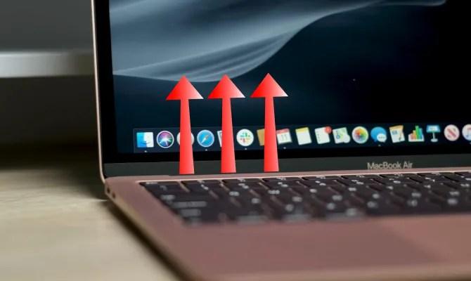 Тепловые стрелки выходят из вентилятора MacBook Air 2019