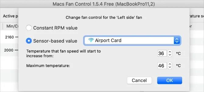 Окно настроек Macs Fan Control с температурным диапазоном