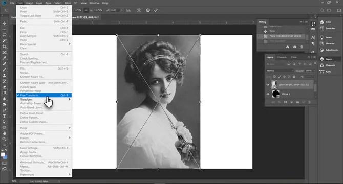 استخدام التحويل الحر في Photoshop لضبط حجم الصورة