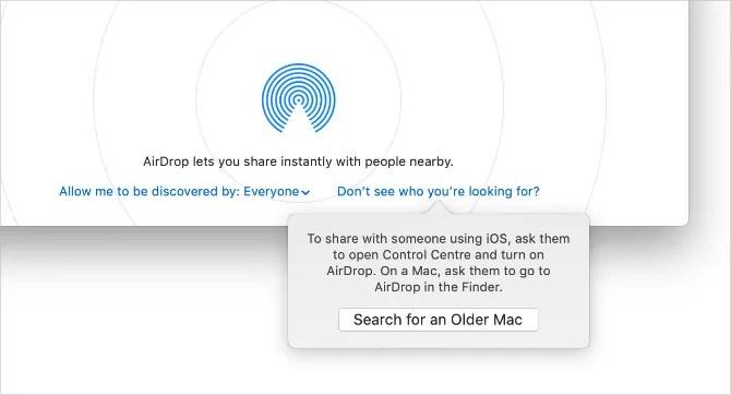 Поиск всплывающего окна «Старый Mac» в AirDrop для Mac