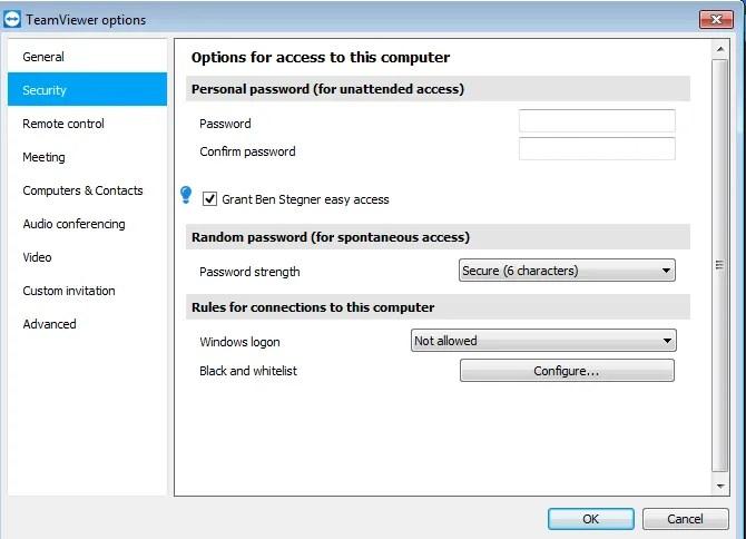 Личный пароль TeamViewer