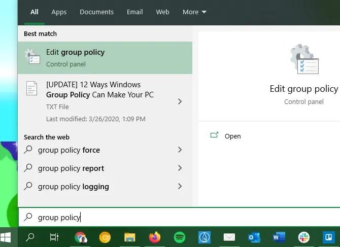 Editor de directivas de grupo abierto de Windows