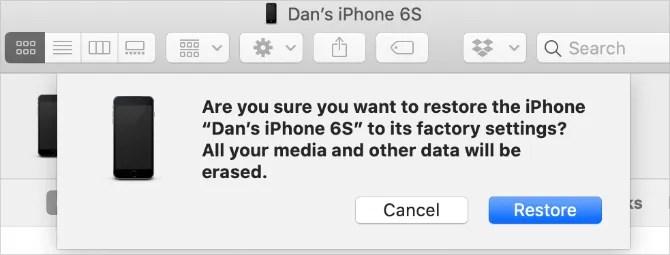 окно восстановления iPhone из Finder