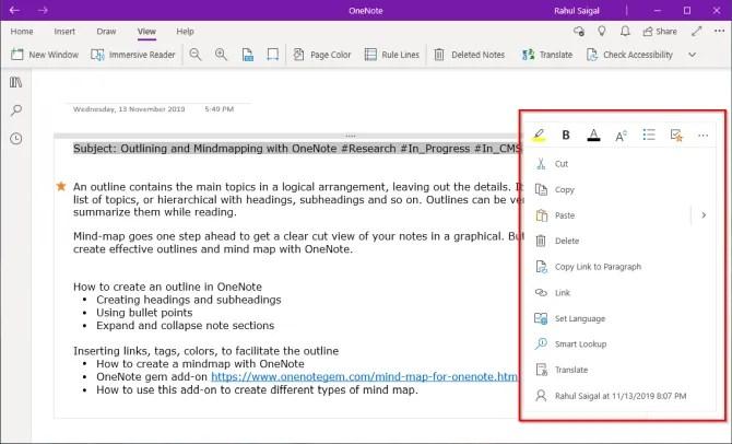 мини-панель быстрого форматирования в приложении OneNote