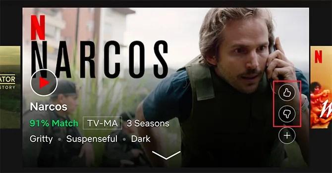 Оцените Netflix Показать большие пальцы вверх или большие пальцы вниз
