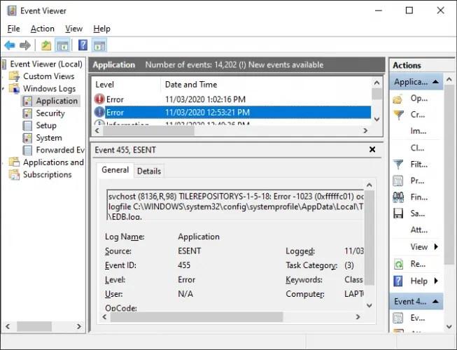عارض أحداث Windows 10