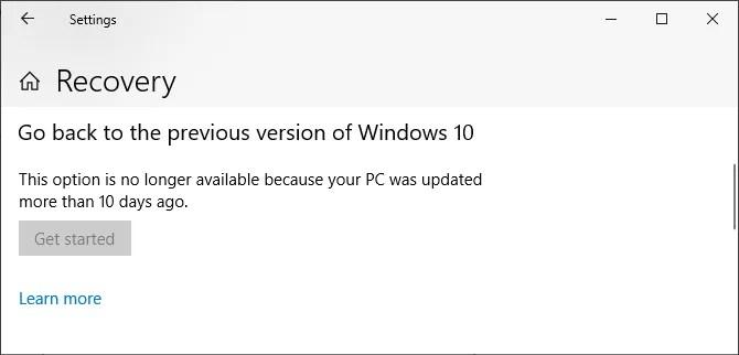 ارجع إلى الإصدار السابق من Windows 10