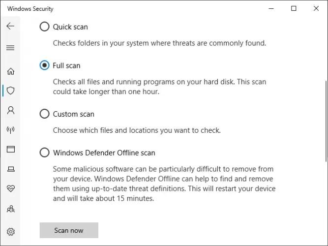 فحص أمان Windows الكامل