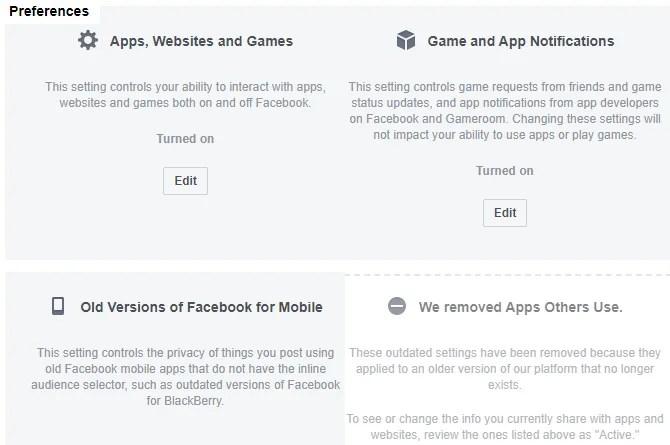 Настройки веб-сайта приложения Facebook