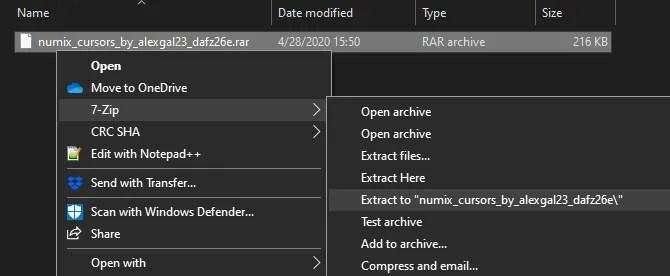 Извлечь курсоры Windows