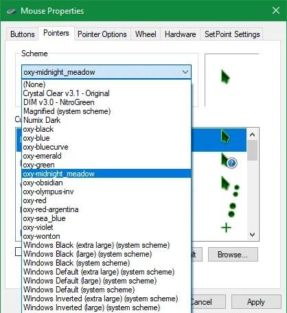 Opciones de cursor de Windows