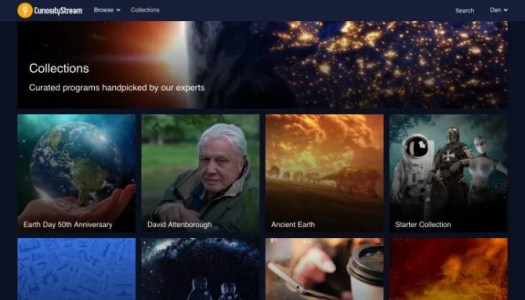 CuriosityStream collections screen showing curated shows