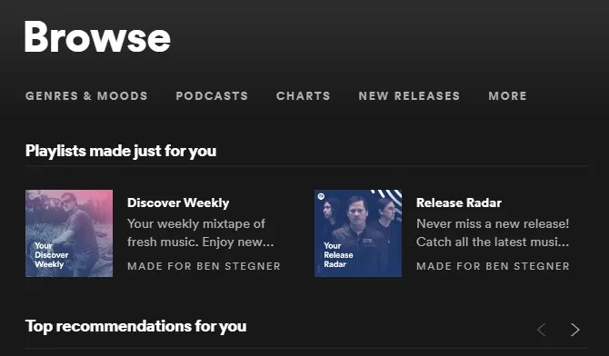 Spotify Рекомендации для вас