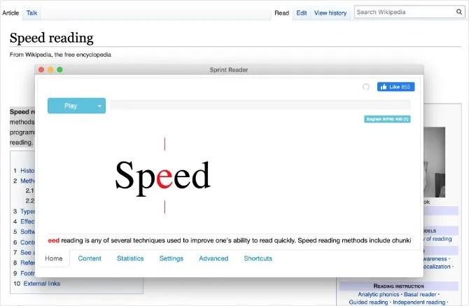 نافذة ملحق قارئ سرعة Sprint Reader من Chrome