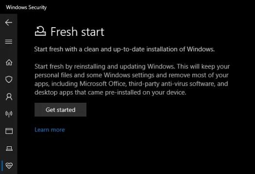 Windows 10 Security Fresh Start