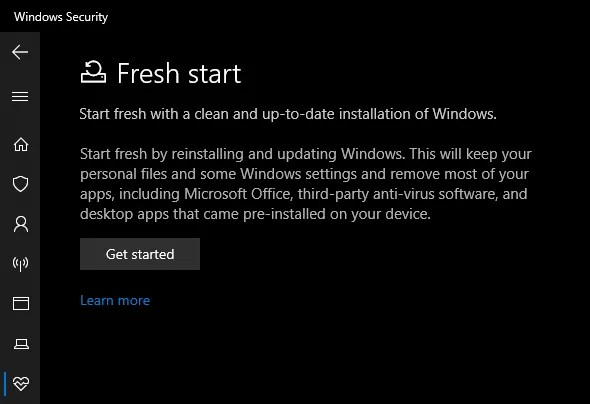 بدء تشغيل Windows 10 Security Fresh