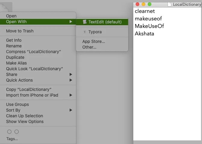 Custom word list in dictionary file in TextEdit on macOS