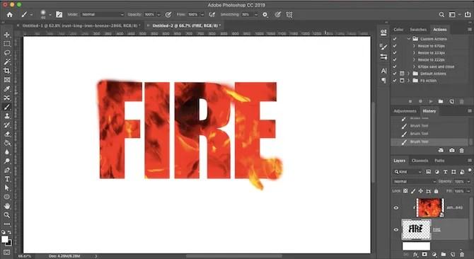 تأثير النار النص فوتوشوب