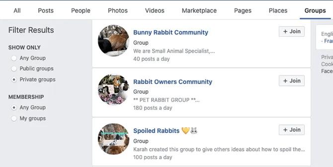 фильтры групп в фейсбуке