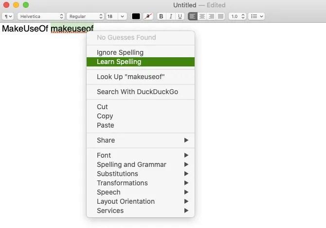 Learn Spelling menu item in TextEdit on macOS