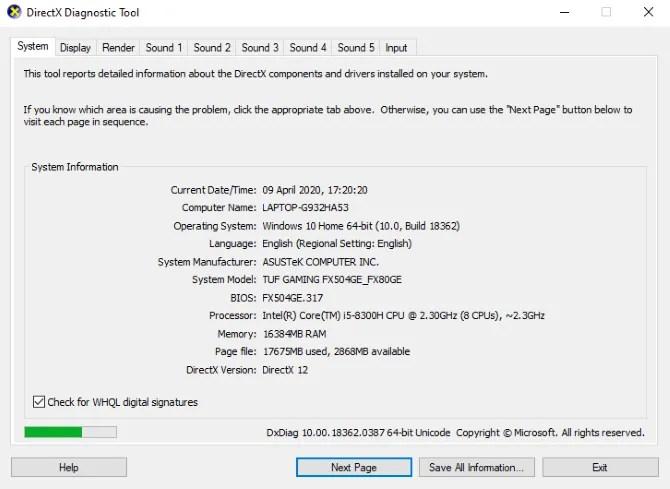 تأكد من تثبيت DirectX 12 لضمان تحسينات الألعاب لنظام التشغيل Windows 10