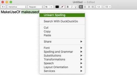 Unlearn Spelling menu item in TextEdit on macOS