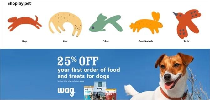 Página principal de Amazon Pet Supplies