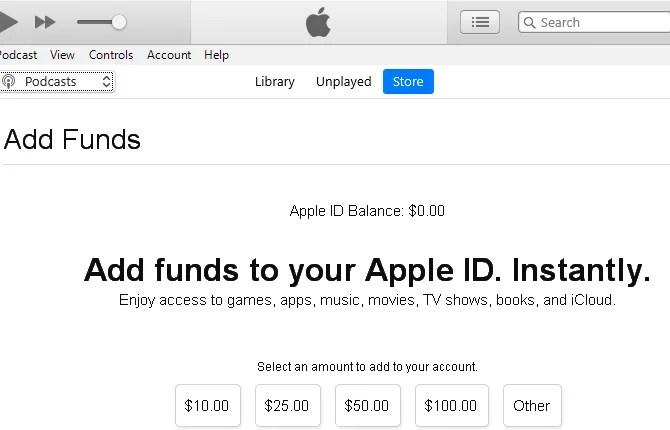 Apple ID Add Funds Windows