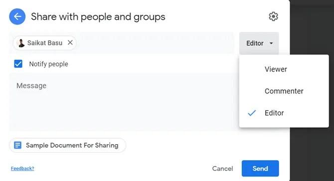 Совместное использование Документа Google с пользователем, не являющимся пользователем Google