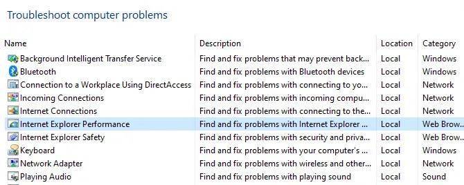Internet Explorer Performance Troubleshooter
