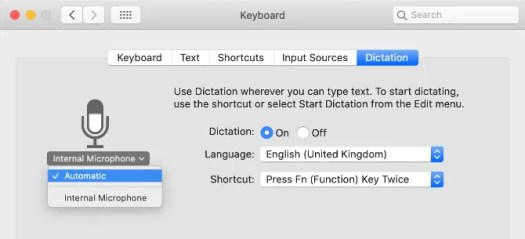 Microphone selection from Dictation System Preferences