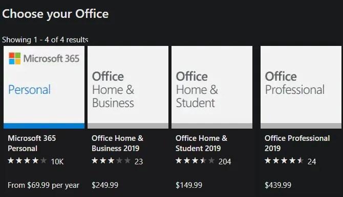 تسعير Office 2019