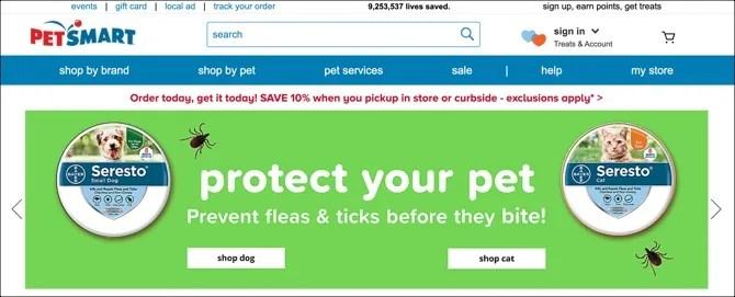 Página principal de Petsmart