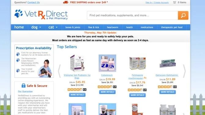 VetRXDirectのメインページ