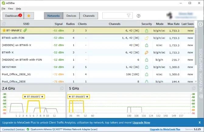 Приложение inSSIDer, показывающее уровень сигнала Wi-Fi