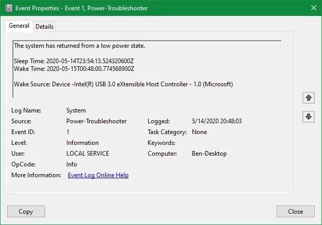 Информация о журнале событий Windows Power