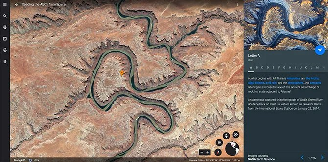 Google Earth Tour Чтение азбуки из космоса