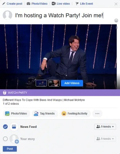 Facebook Watch Party post