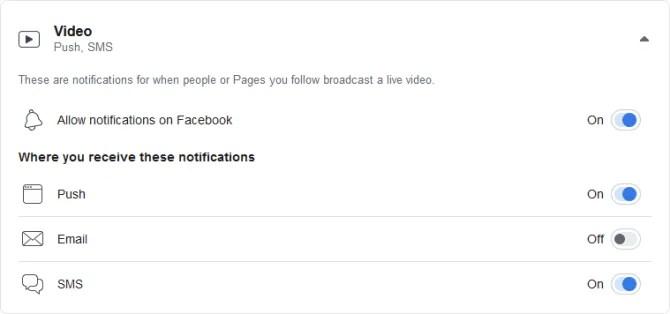 Настройки видео-уведомлений Facebook