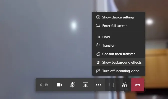 Open the background effects menu in Microsoft Teams
