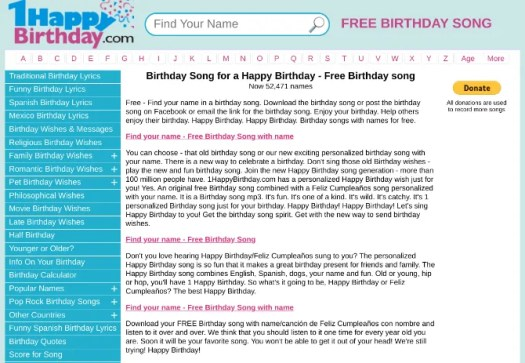 1 Happy Birthday has a free custom birthday song with your name in it