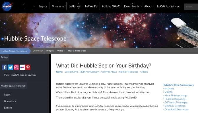 Что увидел телескоп Хаббл в твой день рождения? Проверьте мини-сайт НАСА для галактического празднования дня рождения