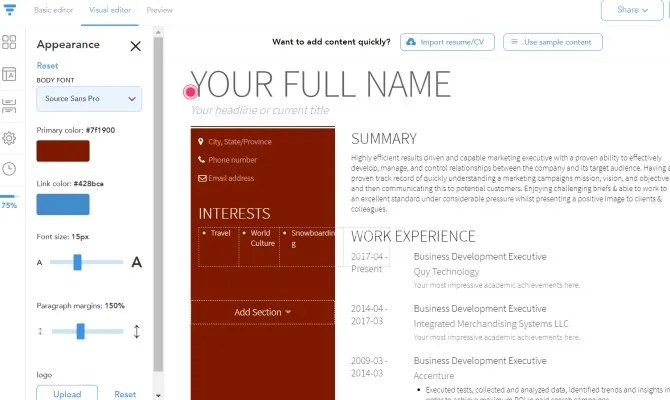VisualCV استئناف إنشاء الموقع